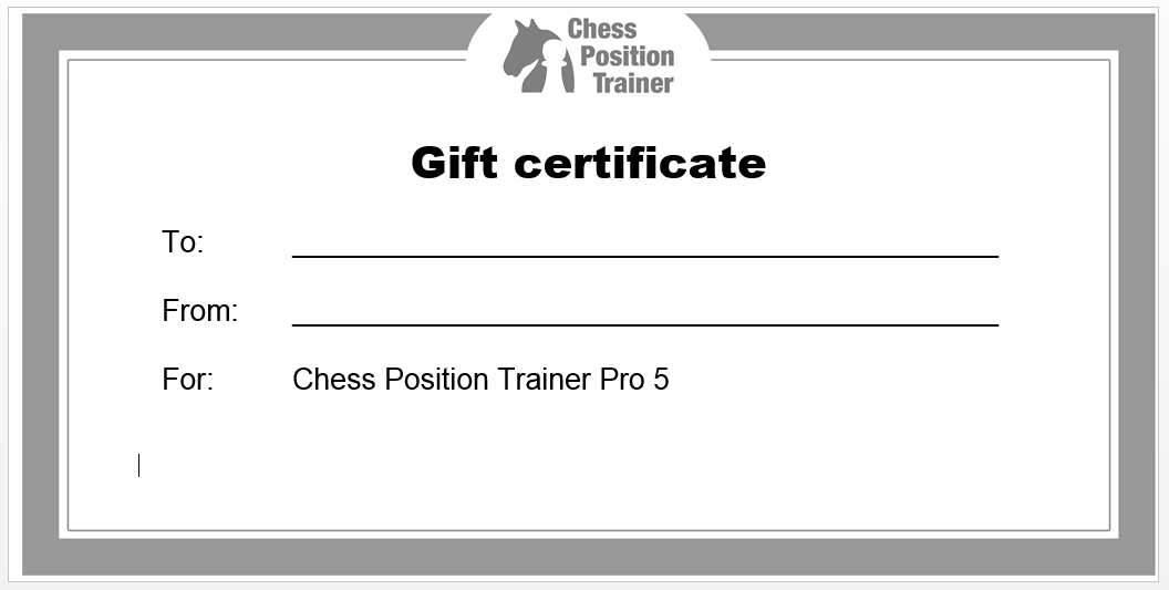 Chess Position Trainer Gift Certificate